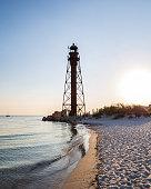 Beautiful old lighthouse on the island. Dzharylgach Island in Ukraine
