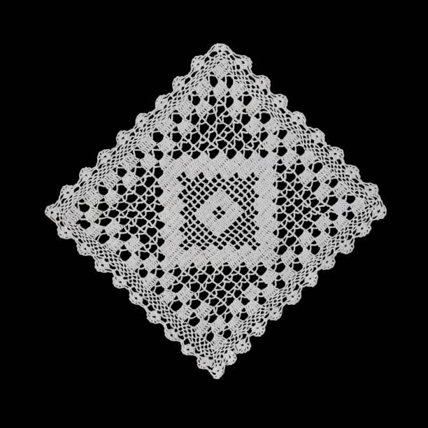 beautiful old napkin embroidery of white thread handmade on dark background - koronka zdjęcia i obrazy z banku zdjęć