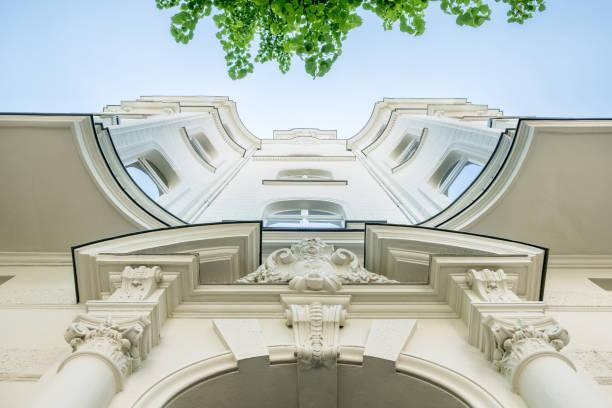beautiful old residential building facade - altbauten stock-fotos und bilder