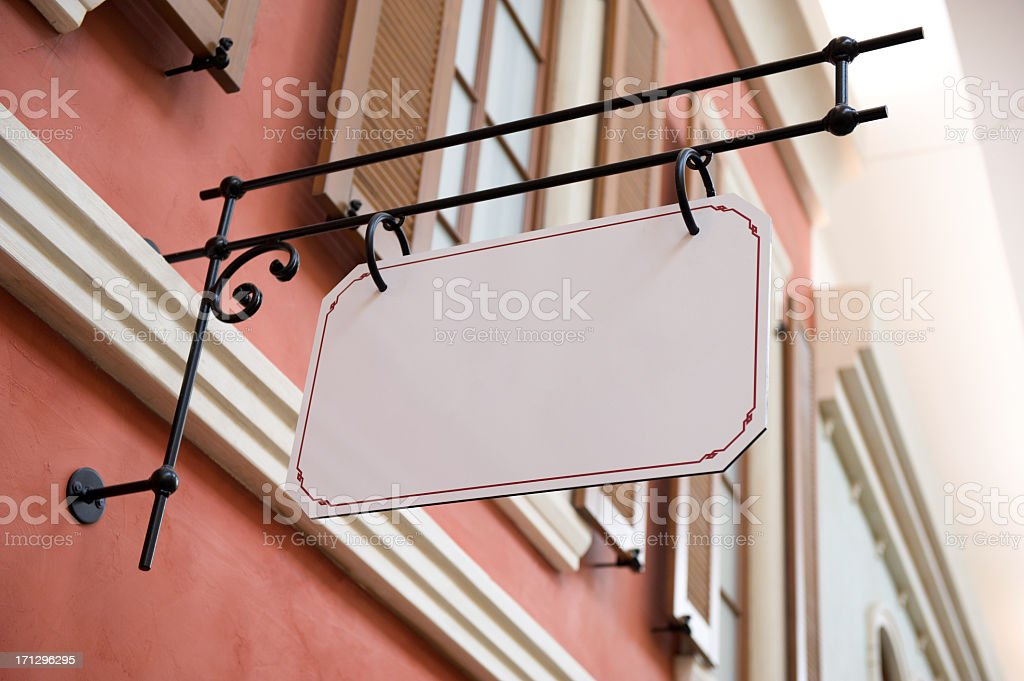 Beautiful old store sign with copyspace stock photo