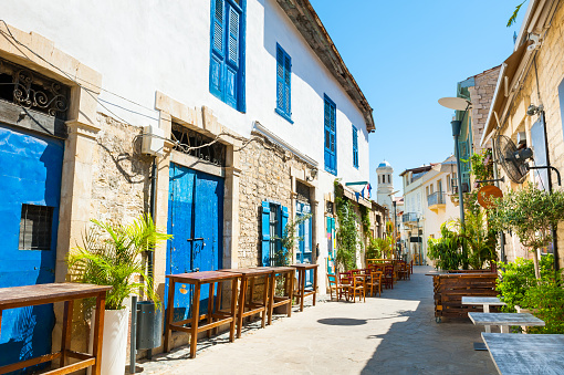 istock Beautiful old street in Limassol, Cyprus 820365652