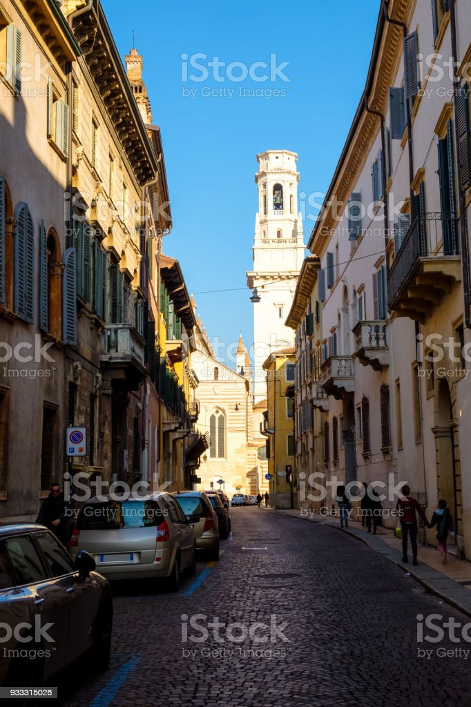 Beautiful old streets of Verona stock photo