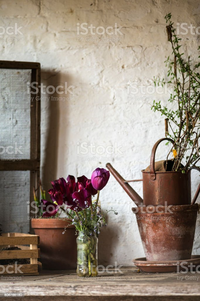 Beautiful old vintage English countryside garden potting shed interior detail stock photo