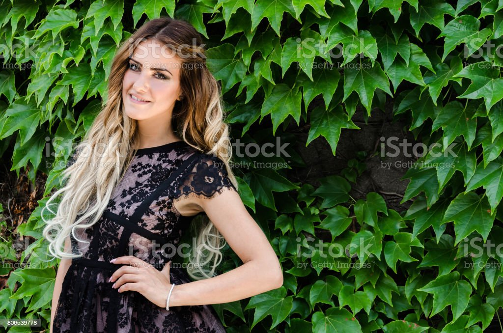 beautiful ombre hair extensions stock photo