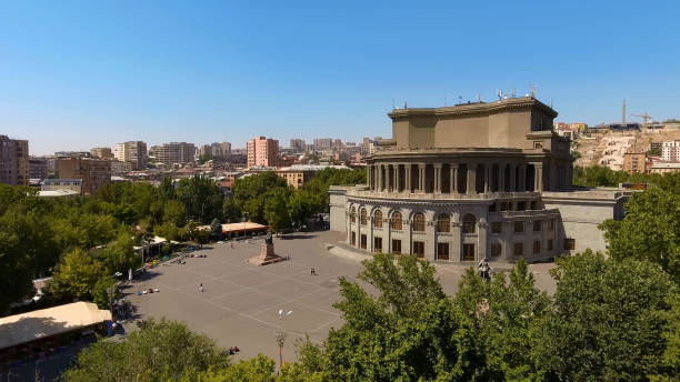 Beautiful Opera house in Yerevan town, architecture in Armenia, aerial view Beautiful Opera house in Yerevan town, architecture in Armenia, aerial view yerevan stock pictures, royalty-free photos & images