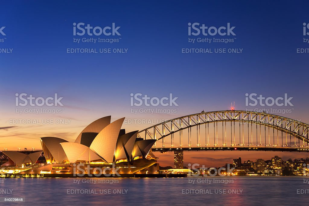 Beautiful Opera house view at twilight stock photo