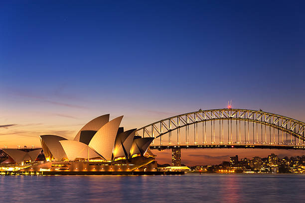 Beautiful Opera house view at twilight Sydney, Australia - September 5, 2013: Beautiful Opera house view at twilight time with vivid sky and illumination on the bridge. oceania stock pictures, royalty-free photos & images