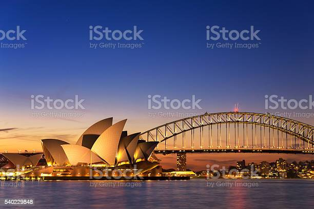 Sydney, Australia - September 5, 2013: Beautiful Opera house view at twilight time with vivid sky and illumination on the bridge.