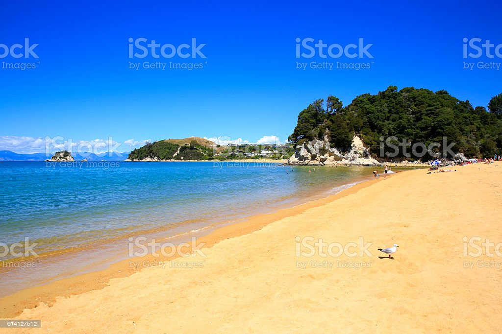 Beautiful orange beaches along the Abel Tasman Great Walk. stock photo