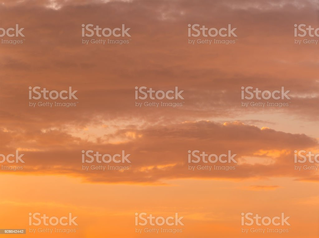 Beautiful orange sunset sky. stock photo