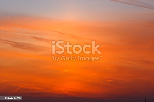 Beautiful orange sunset. The sky is ablaze with bright colors.