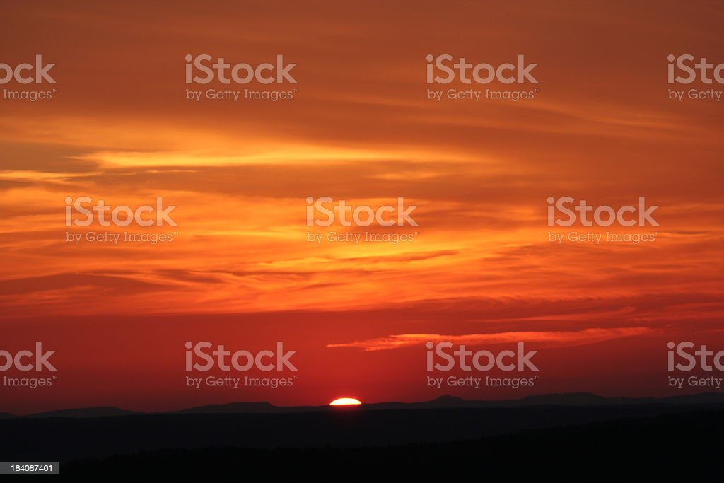 Beautiful orange view of a sunset royalty-free stock photo