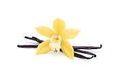istock beautiful orchid flower with vanilla beans on white 1207547979