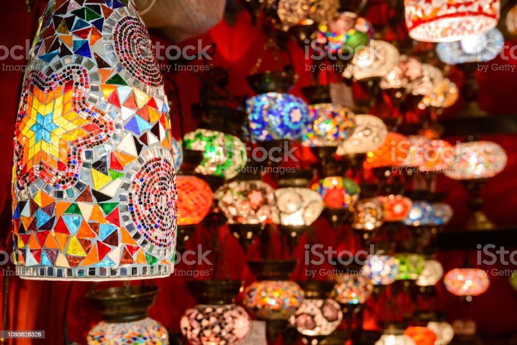 Beautiful oriental lamps in Grand Bazaar, Istanbul, Turkey stock photo