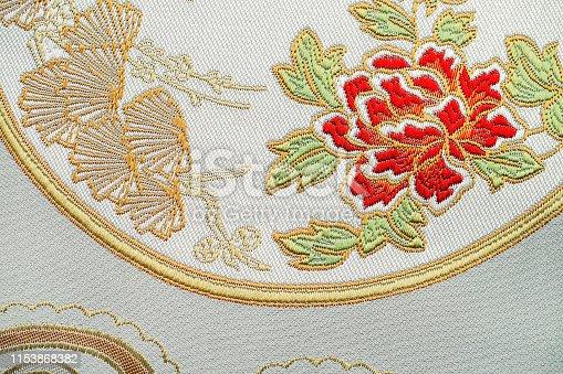 532522827 istock photo Beautiful Oriental motif, flower embroidery pattern 1153868382