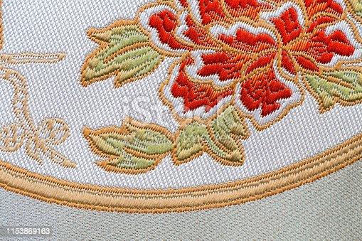 istock Beautiful Oriental motif, flower embroidery pattern 1153869163
