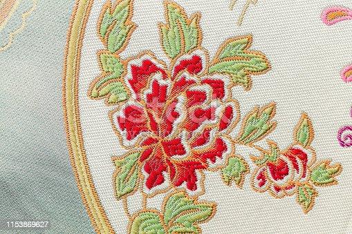 istock Beautiful Oriental motif, flower embroidery pattern 1153869627