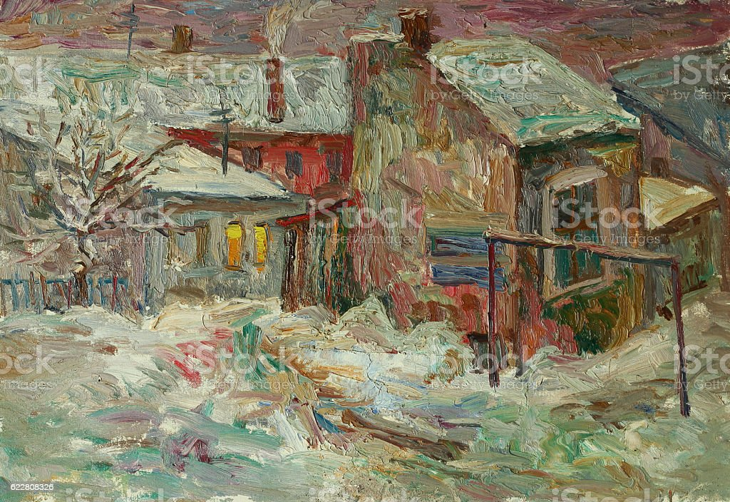 Beautiful bright colors winter Original Oil Painting of street On...