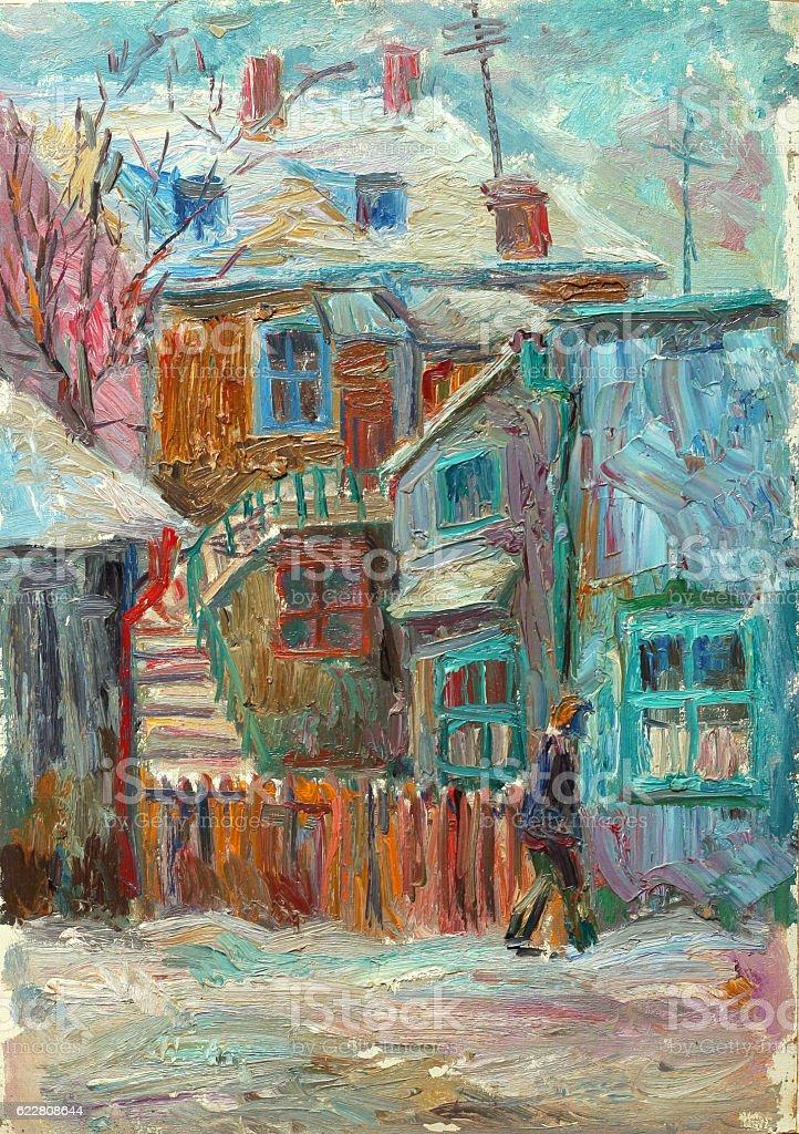 Beautiful bright colors winter Original Oil Painting ofman walking on...