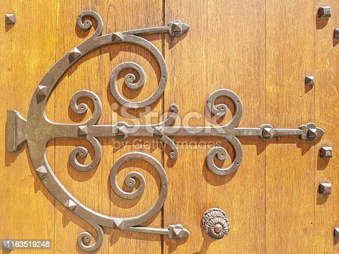Beautiful ornament of iron upholstery on an old wooden door