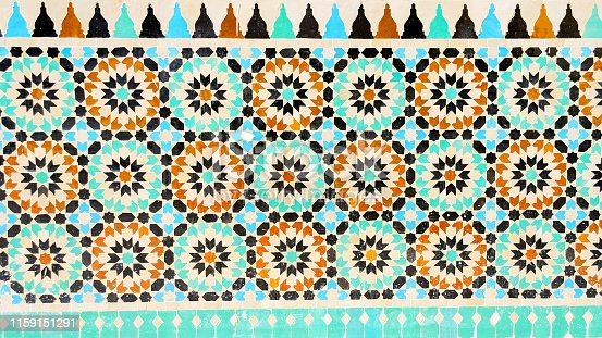 926058102 istock photo Beautiful ornament tiles in Marrakesh. Morocco. Architecture. Details. Attractions. 1159151291
