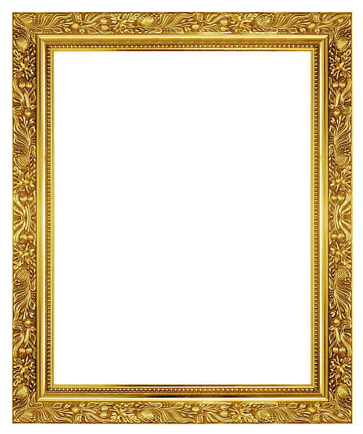 Beautiful ornamented golden frame on white background stock photo