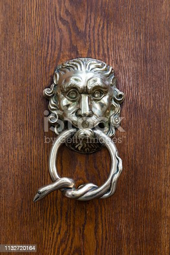 Closeup of a beautiful hand crafted silver doorknocker with a fantasy lion head and a snake wrapped around the handle