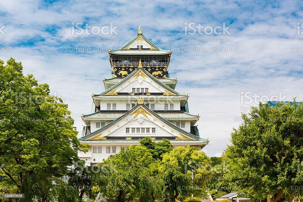 Beautiful Osaka castle in Japan on sunny summer day. stock photo