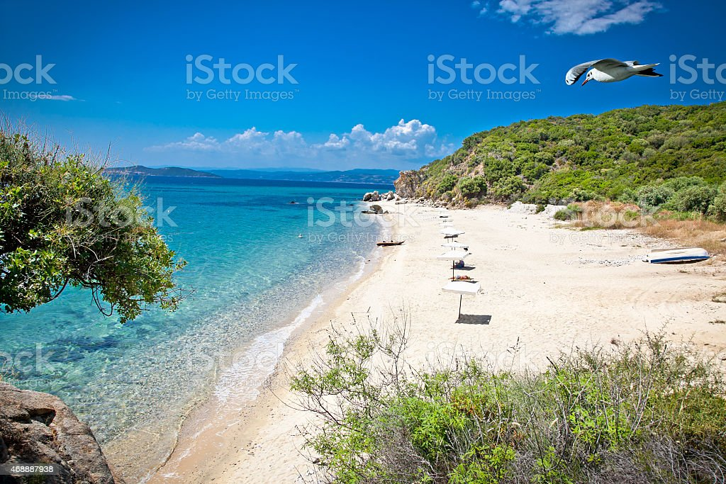 Beautiful Ouranoupolis beach on Athos, Greece. stock photo