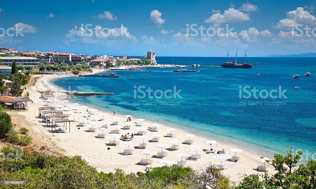 Beautiful Ouranoupolis sandy beach on Athos, Greece. stock photo
