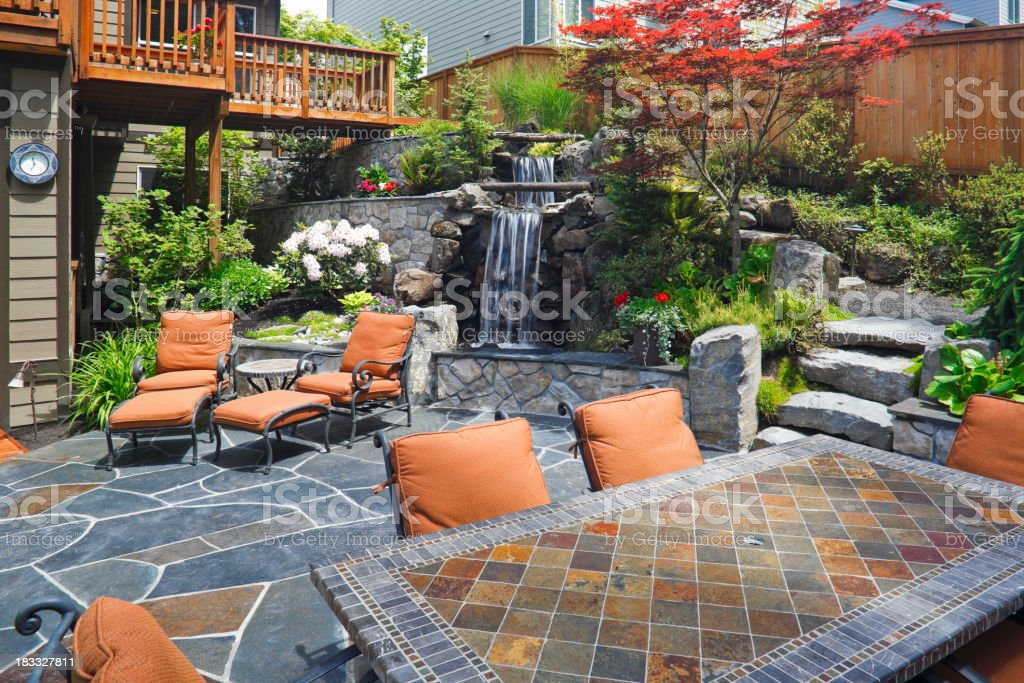 Beautiful Outdoor Living Space stock photo