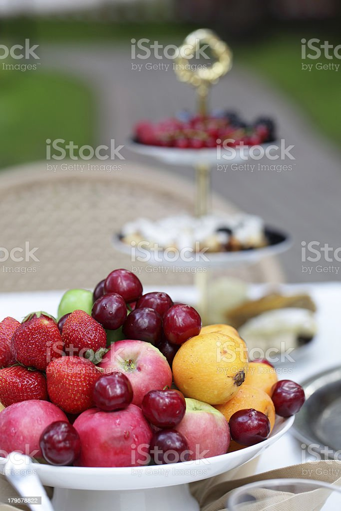 beautiful outdoor place with food in a forest royalty-free stock photo