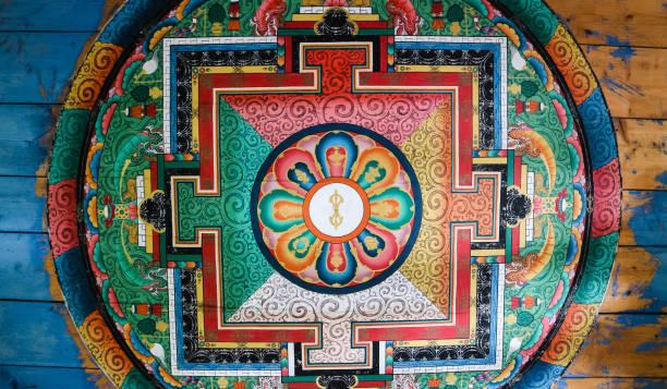 Beautiful painting on ceiling, inside wall of Chain Bridge, Paro, Bhutan stock photo