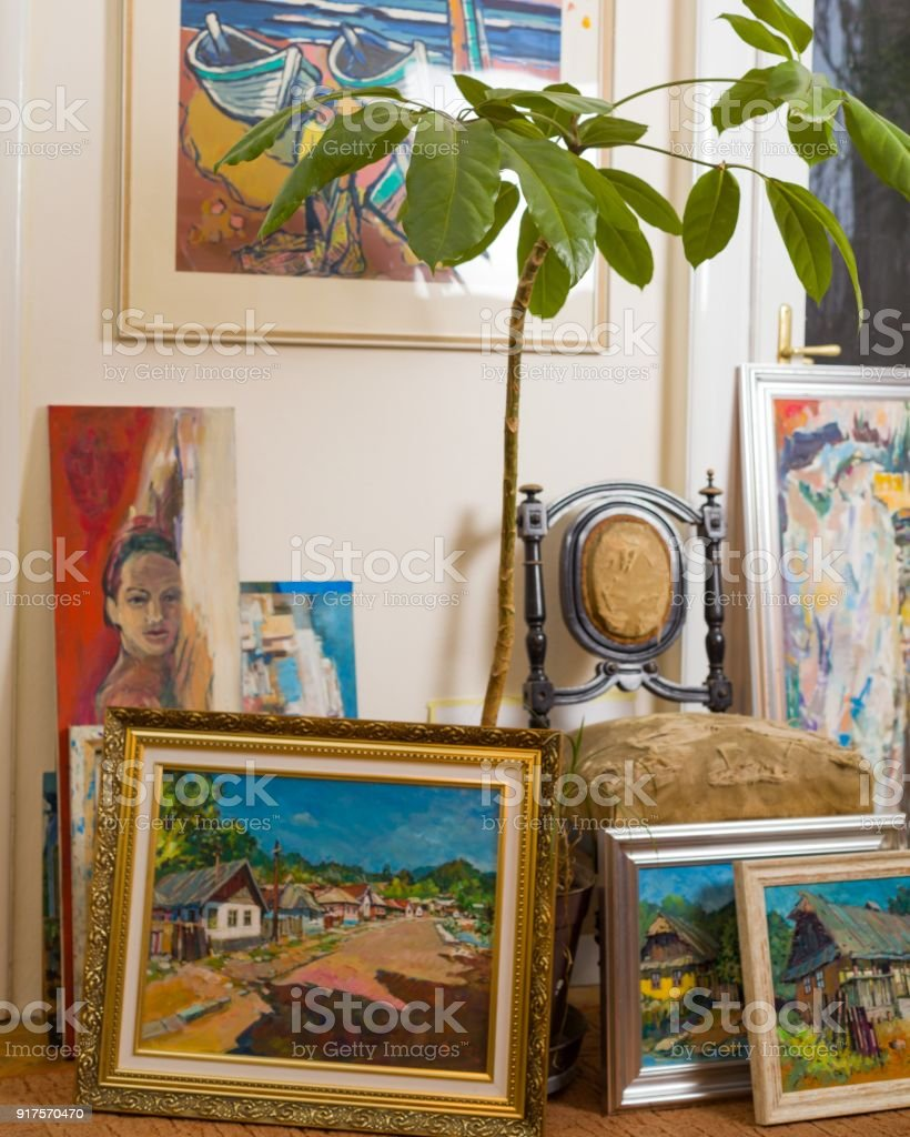 Beautiful paintings collection stock photo