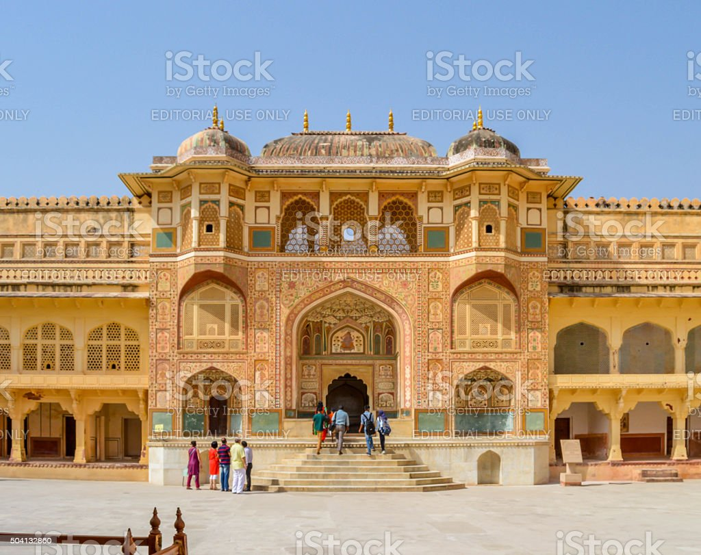 Beautiful palace inside the Amber Fort stock photo