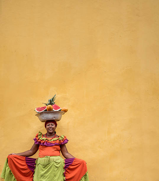 beautiful palenquera in cartagena - colombia stock photos and pictures