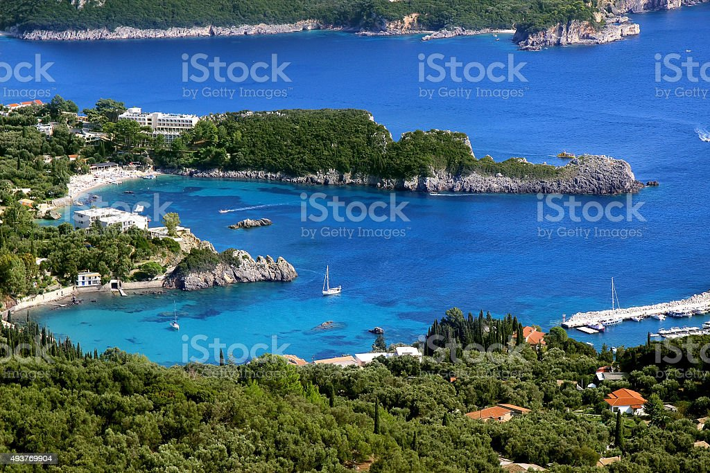 Beautiful Paleokastritsa and ionian sea. stock photo