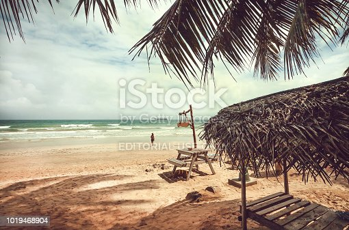 Trincomalee, Sri Lanka - January 12, 2018: Beautiful palm trees beach in tropical climate and relaxing people swiming in waves at sunny weather on January 12, 2018. Sri Lanka has 245.000 foreign tourists per year