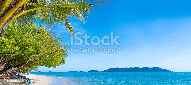 istock Beautiful panorama beach views, clear skies and clean sea water. 1219585861