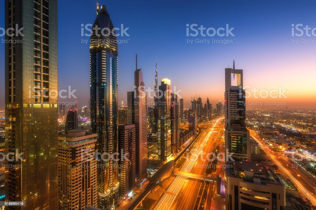 Beautiful panorama from Dubai Downtown stock photo
