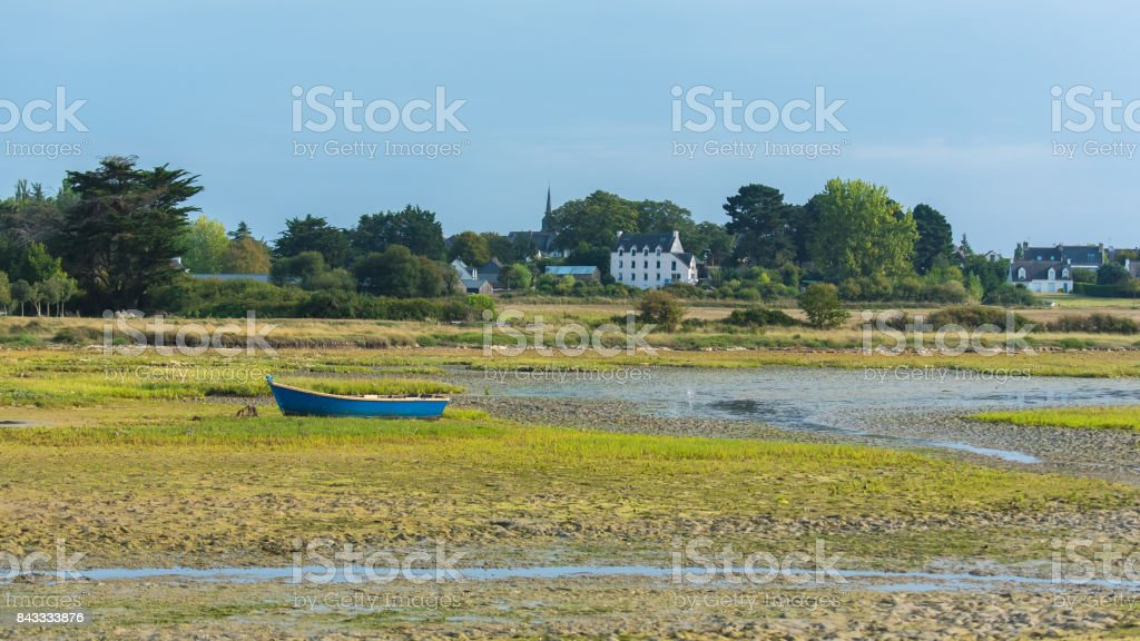 Beautiful panorama in Brittany in low tide stock photo