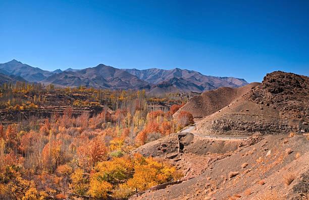 Beautiful Panorama of Abyaneh Mountains, Iran stock photo