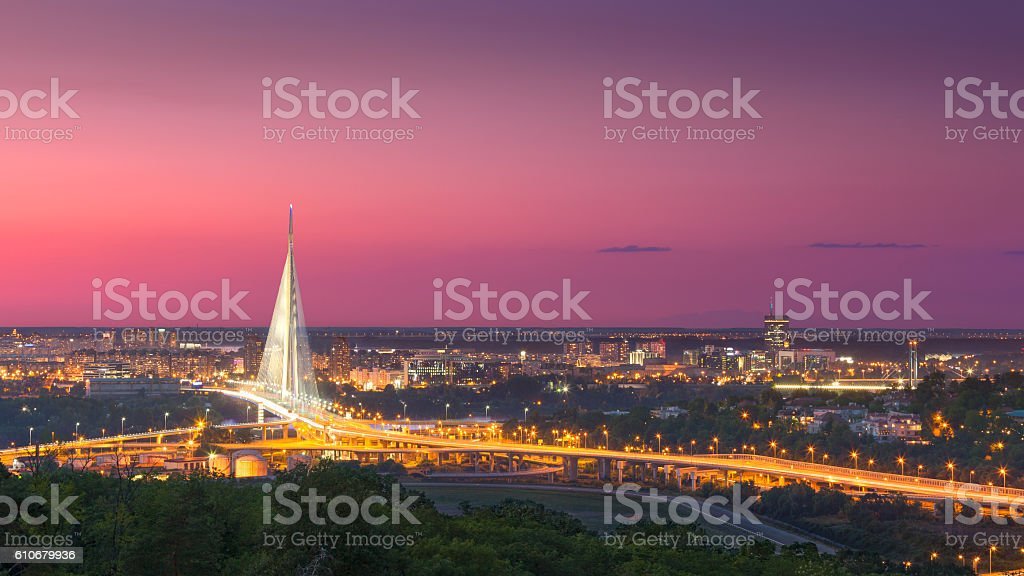 Beautiful panorama of Belgrade town at dusk stock photo