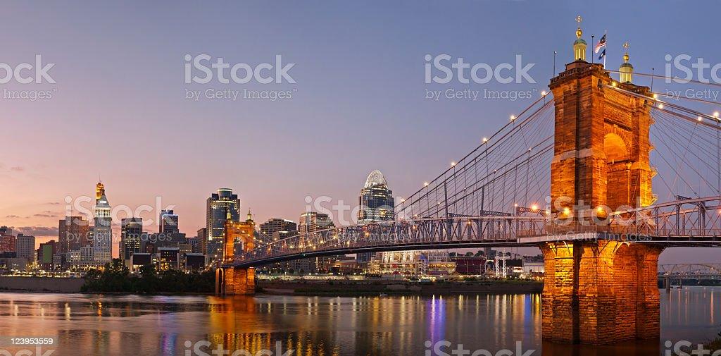 Beautiful panorama of Cincinnati skyline and river stock photo