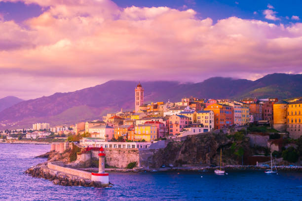 Beautiful panorama of city of Bastia in Corsica. stock photo