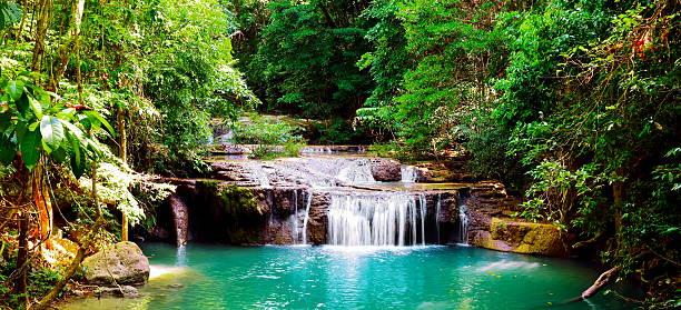Beautiful panorama of Erawan waterfall  in Kanchanaburi province, Thailand. stock photo