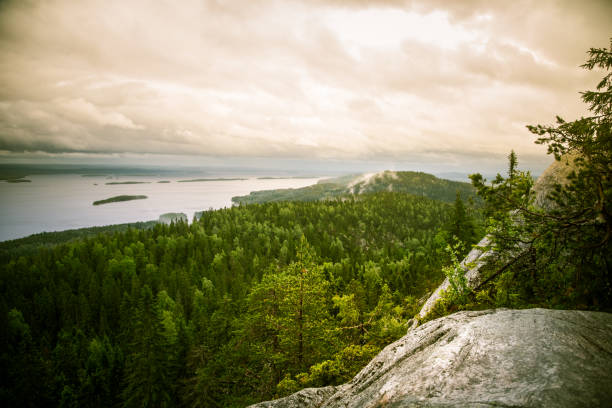 A beautiful panorama of lake and forest from Koli National park peaks stock photo