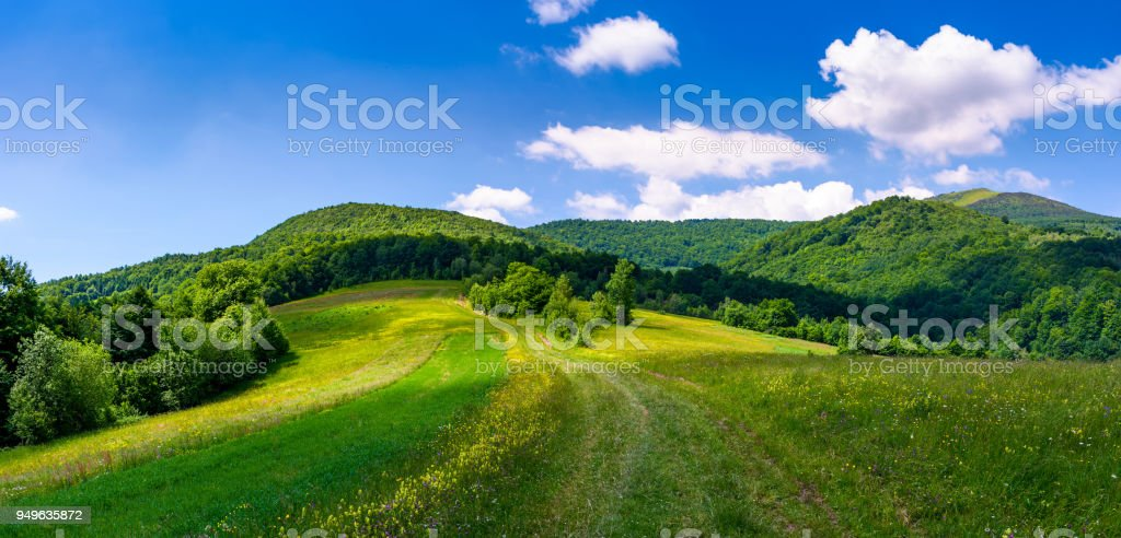 beautiful panorama of mountainous countryside stock photo