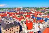 Beautiful Panorama of Munich Germany . Downtown of Munchen , view from above