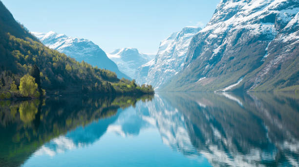 Beautiful panorama of Norwegian nature Beautiful panorama of Norwegian nature reflection lake stock pictures, royalty-free photos & images